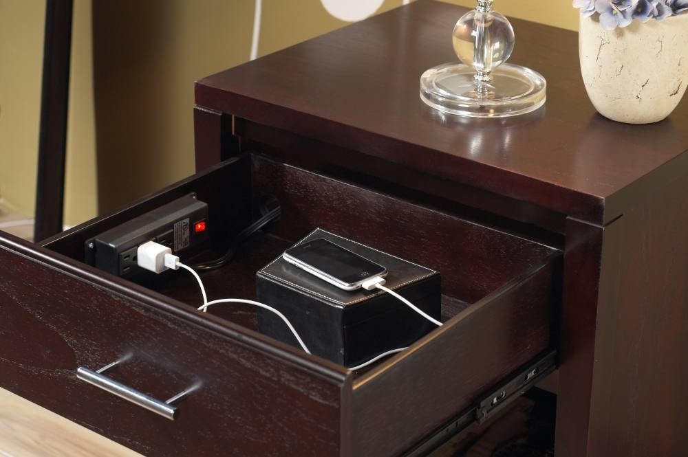 Lovely Nevis Nightstand With Charging Station. View Larger