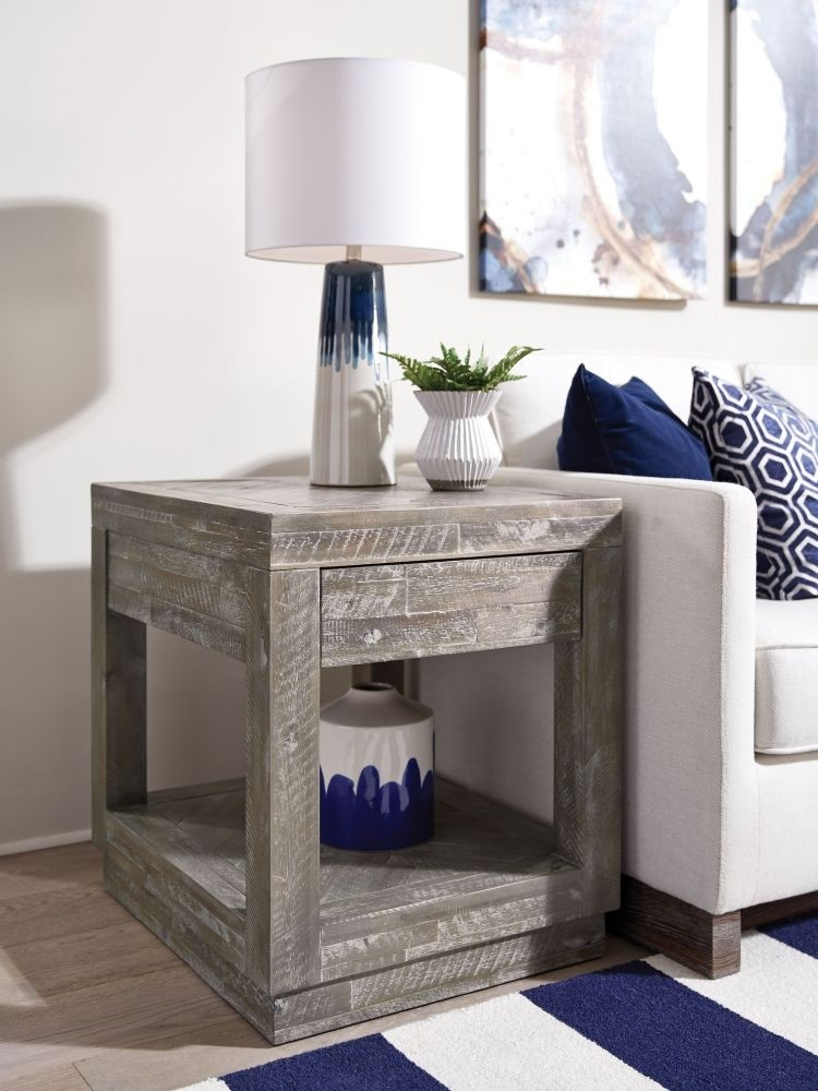 Herringbone End Table